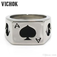 Wholesale Poker Designs - 316 L Stainless Steel ring Poker Black Spades Ace Design Finger Ring top fashion band rings high quality mix cheap wholesale VICHOK