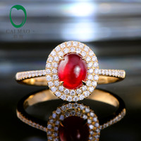 anillo de compromiso de oro amarillo rubí al por mayor-Caimao Garra Prongs 1.21ct Natural Cabochon Cut Ruby Halo Diamond 14kt oro amarillo anillo de bodas de compromiso