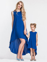 Wholesale clothing styles mom daughter resale online - Family Clothing summer Mother daughter dress matching Irregular Hemline dress Occident style Sleeveless beach mom and duaghter