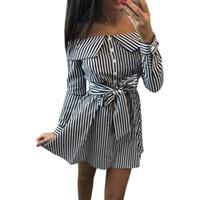 ingrosso pulsanti di prua-Vestito a strisce da donna 2019 Vestito da abbottonatura sexy con scollo a cuore lungo da abbottonatura a maniche lunghe con maniche lunghe e maniche lunghe