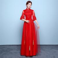 qipaorock großhandel-Shanghai Geschichte halbe Hülsen-Spitze Cheongsam chinesisches Kleid rote Qipao traditionelle Kleidung Top + Rock Anzug