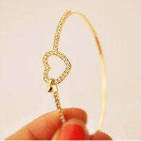 cuerda de oro al por mayor-Pulsera Estilo de moda Oro Rhinestone Amor Corazón Brazalete Brazalete Pulsera Moda Cuff Cuerda Cuerda oro mano riverdale F80