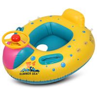 dosel inflable al por mayor-Inflatable Baby Float Seat Boat con Canopy Infant Swim Rings que puede cubrir bien al bebé y también se puede tomar a voluntad