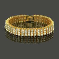 pulsera de cristal pulsera de diamantes al por mayor-Joyería de los hombres de Hip Hop de alta calidad Chapado en oro de 18 k Chapado en oro pulsera de cristal de Bling Brazalete de hombre negro de diamantes en Brazalete