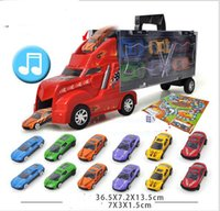 Wholesale diecast toy trucks online - 1 Scale Diecast Metal Alloy Car Model Pull Back Toys Car Model Children Simulation Container Car inside Super Power Truck LED Music
