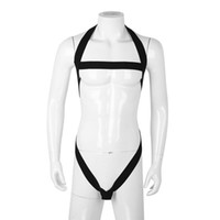Wholesale penis harnesses resale online - iEFiEL Mens Male Lingerie Halter Hollow Out Elastic Strap Bodysuit Harness with Penis O ring Body Chest Harness Bondage Costumes