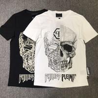 mens cool casual gömlekler toptan satış-SERIN Baskılı Phillip Düz pamuk kısa kollu kafatası erkekler T gömlek casual gevşek yaz mens tshirt erkek t-shirt mens yeni tişörtlerin