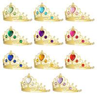 niños de tiaras al por mayor-Diamantes de imitación de oro Princesa de Halloween Cosplay Accesorios para el cabello Niños Diamante Corona Tiaras Niños Fiesta de Navidad Regalo C5043