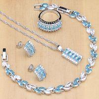 mavi taş gümüş yüzük toptan satış-925 Ayar Gümüş Takı Setleri Kadınlar Için Mavi Zirkon Taş Beyaz Kristal Parti Küpe / Kolye / Yüzük / Bilezik / Kolye Seti