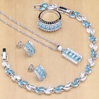ensembles de bracelet en pierre bleue achat en gros de-Ensemble de bijoux en argent sterling 925 sertie de cristaux blancs en pierre de zircon bleu pour les femmes, boucles d'oreilles / pendentif / bagues / bracelet / collier