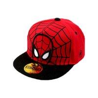karikatür şapkalı şapkalar toptan satış-Unisex Çocuk Düz Ağız Beyzbol Şapkası Karikatür Örümcek-Adam Tasarım Spor Kalça hop Ayarlanabilir Kid için ND18010503 Snapback Beyzbol Şapkası