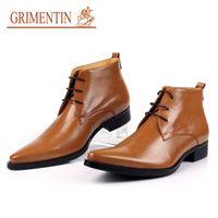 Wholesale large size lace wedding shoes - GRIMENTIN 2018 New Fashion Men Ankle Boots Genuine Leather Black Orange Formal Shoes For Business Wedding Luxury Shoes Large size:38-46