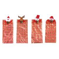 brown bear case UK - Christmas Beer Bottle Bags Cover Case Deer Bear Snowman Gauze Party Supplies