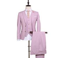 göğüs balo elbiseleri toptan satış-Erkek Pembe Takım Düğün Damat Groomsmen Elbise Özel Moda Ince Tek Göğüslü erkek Takım Elbise Balo Parti Kıyafeti