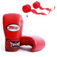 Wholesale men boxing gear online - 5color OZ OZ Twins MMA Boxing Gloves Men Women Adult PU Leather Karate Mauy Kick Boxing Glove Boxing Bandage