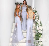 brautkleid halfter perlen silber großhandel-High Neck Halfter Brautjungfernkleider 2018 Modest Silver Grey Lace Perlen Fleck Mermaid Beach Garden Trauzeugin Wedding Guest Dress