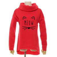 lenços engraçados venda por atacado-Miau Gato Engraçado Natal 2018 Mulheres Inverno Hoodies Cachecol Collar Manga Longa Moda Casual Outono Moletons Pullovers Rough