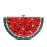 сумочки для вечеринок оптовых-Watermelon Pattern Evening Bag Diamond  Crystal Clutch Bag Lovely Fruit Ladies Party Purse