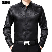 Wholesale clothes chinese style men - 2018 New Fashion Brand Clothing Mens Shirts Casual Slim Fit Square Collar Chinese Style Printed Black Long Sleeve Shirts For Men