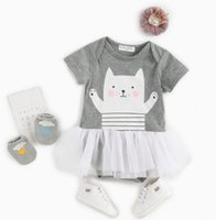 Wholesale cat collar size resale online - Ins New Baby Girl summer Romper Round Collar flying Sleeveless Girl Cat Print Romper Styles