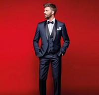 pajarita harris tweed al por mayor-Elegantes azul marino, esmoquin de boda, trajes slim fit para hombres, padrinos de boda, trajes de tres piezas, trajes de baile baratos (trajes + chaleco + chaleco + pajarita)