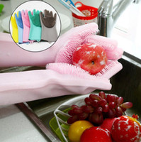 Wholesale rubber glove latex resale online - Silicone Magic Cleaning Glove Brush Colors Scrubber Dusting Dish Washing Gloves Rubber Heat Resistant Dishwashing Gloves pairs OOA5837