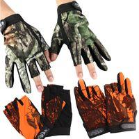 ingrosso guanti impermeabili in nylon-Guanti mimetici pesca colorata antiscivolo galleggiante design guanto mezzo impermeabile guanti mezze dita universale vendita calda 12yl B