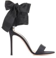nœud en soie pour robe achat en gros de-Été 2018 Nouvelle Arrivée Femmes De Mode Or / Noir Soie À Bout Ouvert Lace Up Big Bow Savoir Papillon Haute Talon Robe Sandales Chaussures