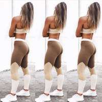 ingrosso yoga pants marche-2017 nuove donne a vita alta leggings elasticizzati pantaloni di yoga fitness patchwork atletico palestra pantaloni sportivi