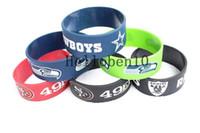 pulseras de rugby al por mayor-¡Nuevos productos! 50 brazaletes de cuero rugby team, 6 colores diferentes, 100% cuero puro.