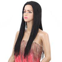perucas afro para venda venda por atacado-Estoque mão amarrada Micro trançado frente perucas para afro-americano torção peruca Sintético Peruca Dianteira Do Laço Venda Quente peruca trança perucas sintéticas