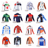 Wholesale iam cycling - AG2R IAM team Cycling Winter Thermal Fleece jersey Cycling long Sleeves Clothing Mountain Bike Outdoor Sportswear F0216