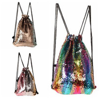 Wholesale outdoor cartoons - 3 Colors Mermaid Sequin Backpack Sequins Drawstring Bags Reversible Paillette Outdoor Backpack Glitter Travel Accessory Bag CCA8617 20pcs