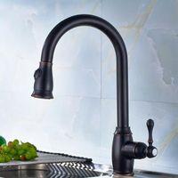küchenspüle wasserhahn großhandel-Messing Kitchen Sink Wasserhahn Einhand Brushed Pull Out Spray Mischbatterie Waschbecken Wasserhahn