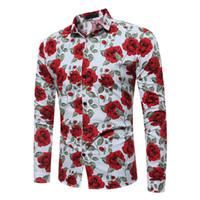 Wholesale shirt vintage male - Fashion Vintage Flower Print Men Shirt Festive Male Blouse Party Casual Blouses Man Cotton Tops Size M-3XL