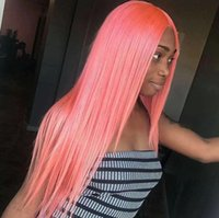 Wholesale full straight weaves for black women resale online - Brazilian Hair Full Lace Wigs Human Hair Lace Wigs for Black Women Straight Weaves Lace Front Wigs Medium Cap pink hair color