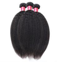переплетение афро оптовых-Лучшее качество 10A необработанных монгольских волос афро кудрявый прямой ткать расширения 3 шт. Много итальянский грубый Яки человеческих волос утка