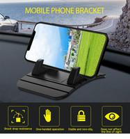 mobil standı not et toptan satış-YunRT TIQUS Araç Tutucu Cep Telefonu Tutucu Standı GPS Yumuşak Silikon Anti Kayma Mat Masaüstü iPhone 7 Için Standı Braketi 8 7 Samsung Not 9