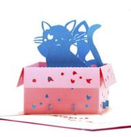 ingrosso biglietti augurali di anniversario fatti a mano-Biglietto di auguri pop-up Biglietto di auguri per bambini a forma di gatto Biglietto di auguri 3D per auguri di laurea Anniversario Congratulazioni Presto