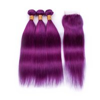 Wholesale purple color hair weave resale online - Purple Brazilian Straight Human Hair Weaves With Lace Closure Silky Straight Human Hair Bundles With Top Closure x4
