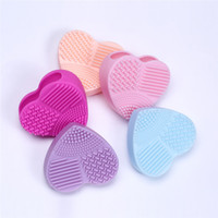 Wholesale Heart Silica - Colorful Heart Shape Clean Make up Brushes Wash Brush Silica Glove Scrubber Board Cosmetic Cleaning Tools