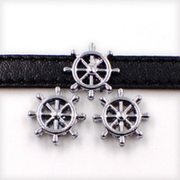 Wholesale name beads wholesale - 8mm Sailing Boat Ship Wheel Rudder Slider Charms Beads Fit 8mm Collar Name Belts Wristband Bracelet Jewelry