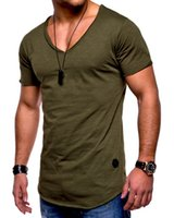 homens slim fit top projetado venda por atacado-Novo Design Mens T-shirt Do Exército Slim Fit Camisas Casual Decote Em V T Slim Fit Tops T-shirt de Manga Curta