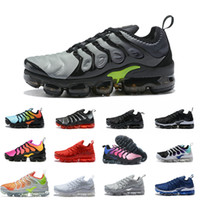 Wholesale lime green basketball shoes - 2018 New vapormax TN Plus Men Casual Shoes Olive In Metallic White Silver for Tn Triple Black off Basketball Chaussures Requin aIRs Sneakers