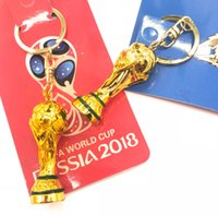 Wholesale russian rings - 50pcs wholesale 2018 Russian World Cup Trophy key ring golden 3D Football trophy key chains fan souvenir Decoration