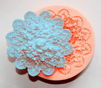 Wholesale Lace Molds - Wholesale- lace Flower Silicone Impressing Mold Fondant Cake Sugarcraft Mold 7*7*1.5cm cooking tools Flower Decorating Tools DIY molds E227