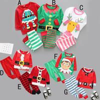 jungen santa hosen großhandel-Kinder Junge Mädchen Weihnachten Kleidung zwei Stücke Set Frühling Herbst runden Kragen Hirsch Weihnachtsmann Print Shirt + Pant 100% Baumwolle Kind Kleidung Sets