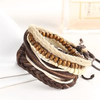 Wholesale leather cuff bracelet accessories - 2018 Punk PU Wrap Leather Bracelets Men Retro Wood Beads Male Multi Layer Braclet Hand Cuff Accessories
