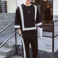 Wholesale mens pants 32 - Vintage Track Suit Spring Summer Casual Jogger Sporting Tracksuit Hip Hop Mens Set Contrast Square Shape Men s Suit Black White