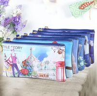 Wholesale china clutch bag for sale - Group buy Modern Girl Cartoon coin purse china cosmetic cases Pu waterproof toiletry bag kids owl zipper handbag European style clutch makeup bag